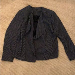 Square dot knit collarless blazer